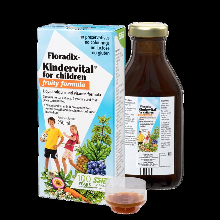 Floradix  Kindervital® for children - fruity formula, Liquid calcium and vitamin formula